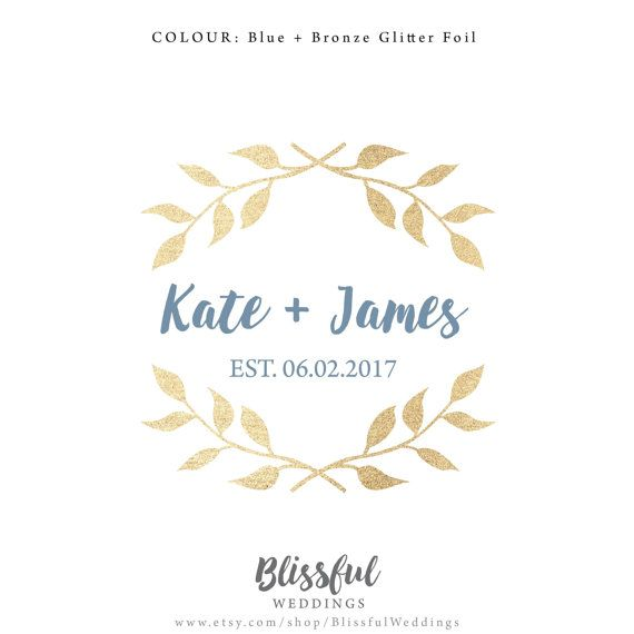 This beautiful blue and gold leaf wreath wedding logo is elegant and will turn any wedding invitation sophisticated. Use it to brand your your wedding by incorporating it into your wedding invitations and matching stationery. Use It to decorate your wedding reception as signage or on favor boxes.   Wedding branding takes the traditional wedding monogram to the next level.   customize the colors and your your wedding details. Digital file available on Etsy