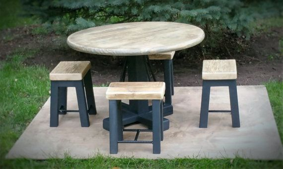 Kids Industrial Rustic Round Table Includes 4 Stools w/ Reclaimed Wood Seats