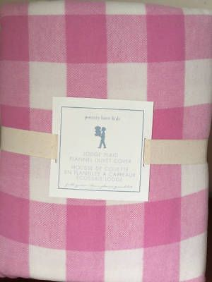 New~Pottery Barn Kids Lodge Plaid Buffalo Check PINK Duvet Cover F/Q