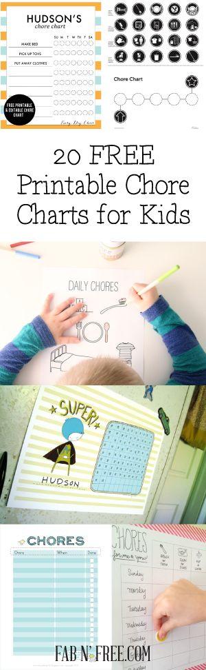 20 Free Printable Chore Charts for Kids  //  fabnfree.com