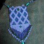 Purple & Teal Beaded Amulet Bag Necklace