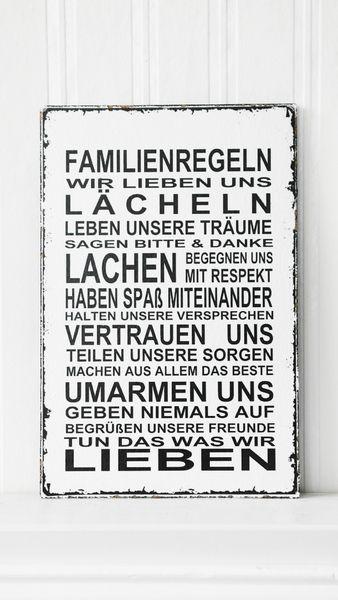 XL  26x17cm Shabby Vintage Schild FAMILIENREGELN von homestyle-accessoires via dawanda.com