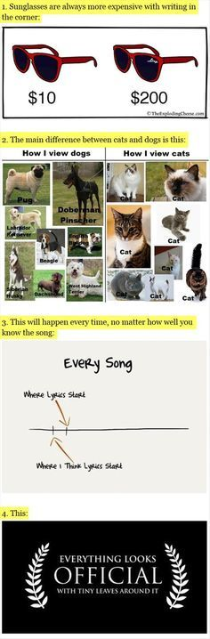 Funny facts of life - love the dog and cat one!