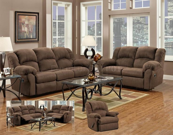 FurnitureMaxx Dual Reclining Chocolate Microfiber Living Room Sofa And Loveseat Made In USA Sets