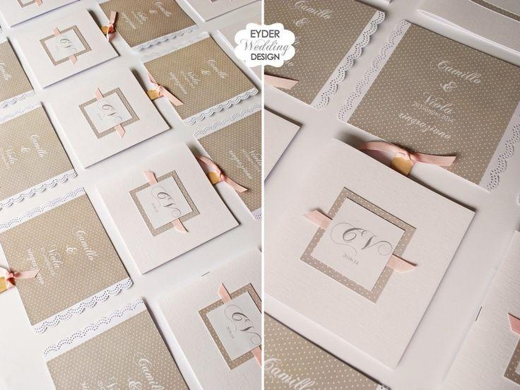 Libretto messa per cerimonia pizzo pois tortora Eyder Wedding Design