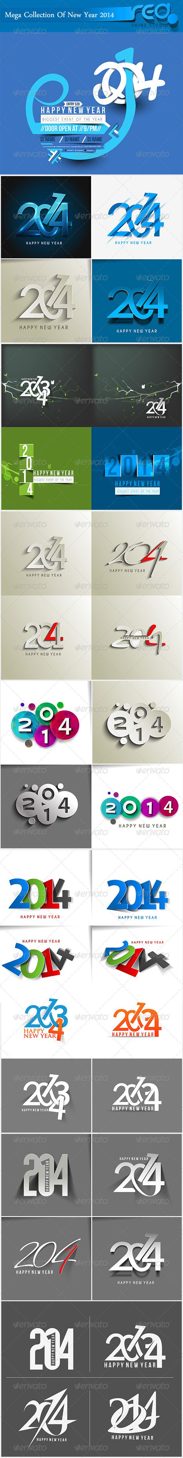 Happy New Year 2014 Background by redshinestudio Mega Collection of Decorative New Year Background. New Year 2014 Text Collection of different- different vector For Decorative Ne