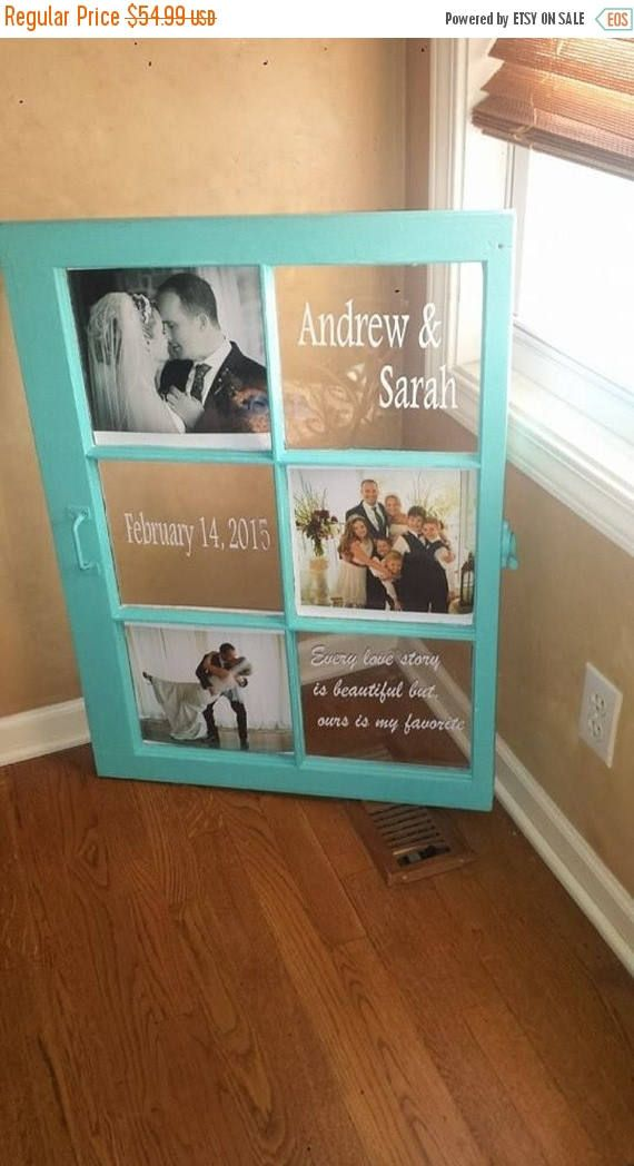 These beautiful wedding Windows are approx 24x30 or 28x32, or somewhere in between, it depends on the size of the 6 pane windows I have at the time. They look great displayed at a wedding and then in your home. They hold 3 wedding or anniversary pictures.  This wedding date window is sure to be an instant hit whether you are using it for décor for a rustic wedding reception, or as a wedding or anniversary present. Featuring simple block letters and gently curved script this rustic window…