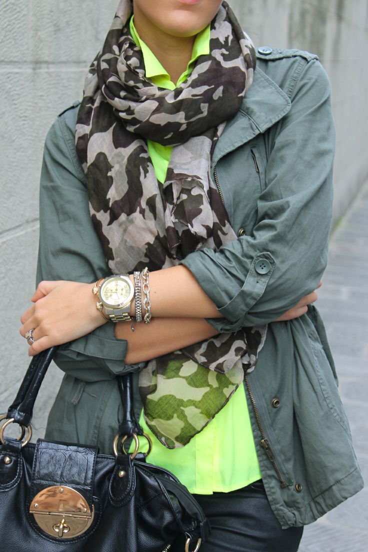 Neon shirt with army scurf | Gloss Fashionista