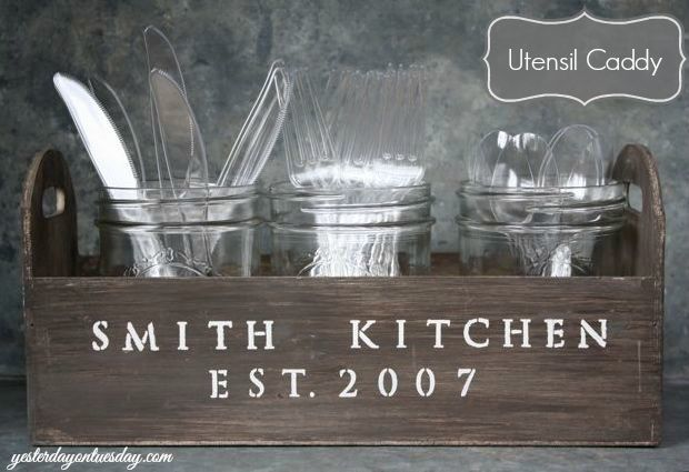 Utensil Caddy...25 Pretty cute DIY ways to give your home a new look!  the36thavenue.com #home #diy