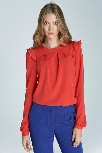 Bluzka+z+falbankami+na+ramionach+b60+-+pomarańcz+w+NIFE+Fashion+na+DaWanda.com