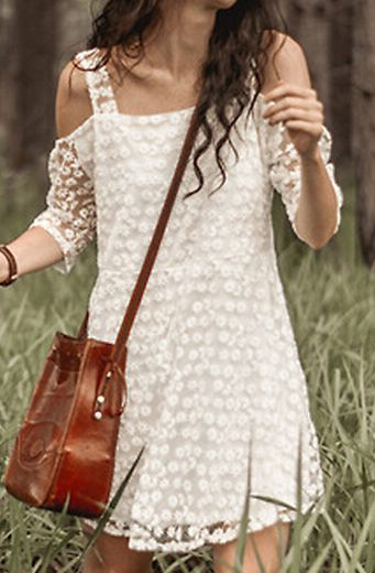 White Off the Shoulder Embroidered Lace Dress 17.67