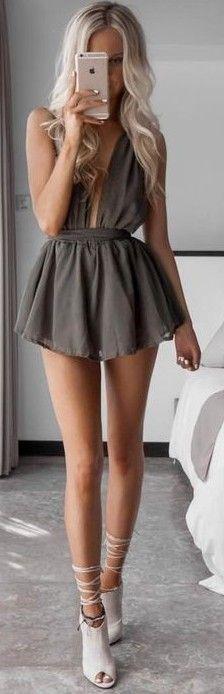 #summer #feminine #outfits | Khaki Romper
