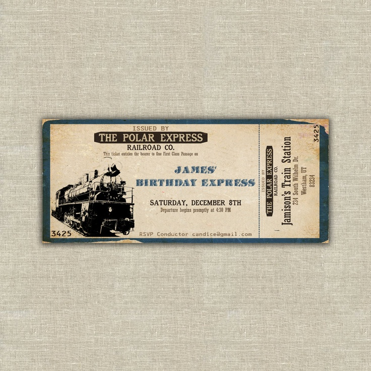 12 best Train Ticket Invitations images on Pinterest Trains - ticket invitation