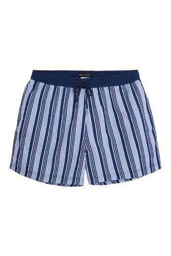 Bañador hombre short Punto Blano listado en tonos azules