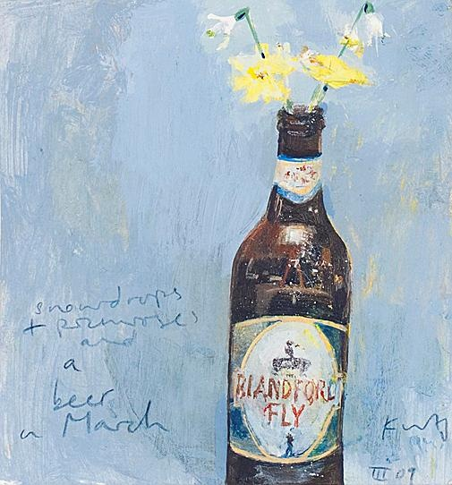 Kurt Jackson  - Snowdrops, primroses and a beer in March