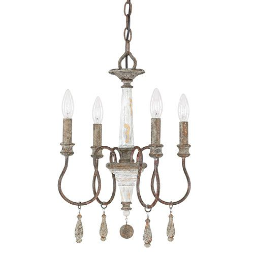 Zoe French Antique Four Light 14 Inch Mini Chandelier Dining Room