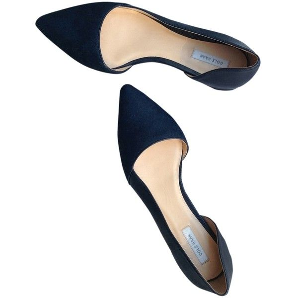 Pre-owned Cole Haan New Navy D'orsay Skimmer Flats ($111) ❤ liked on Polyvore featuring shoes, flats, new navy, ballet pumps, wide ballet flats, ballet flats, flat shoes and wide flats