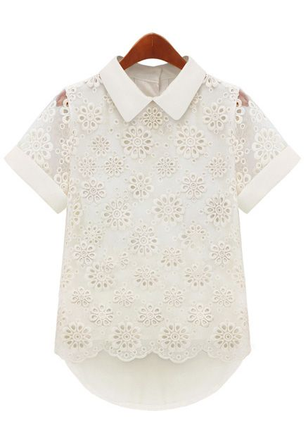 White Short Sleeve Hollow Dipped Hem Chiffon Blouse - Sheinside.com