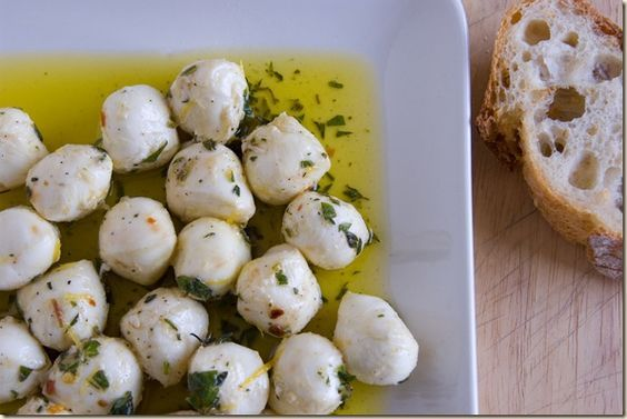 Marinated Mozzarella Balls. A low carb treat to have in your fridge all the time
