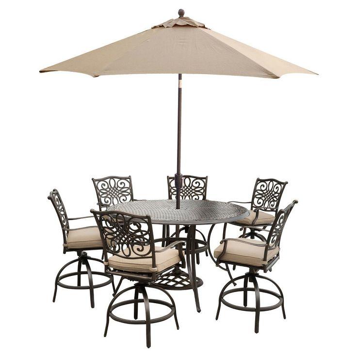 Superior Traditions 7pc Round Metal Patio High Dining Set W/ 9u0027 Table Umbrella U0026  Stand
