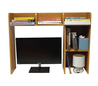 Shop at DormCo for our Classic Dorm Desk Bookshelf - Beech (Natural Wood). This dorm necessities item has plenty of shelf space for college textbooks, notebooks, and other college supplies and will add to your dorm room decor with natural wood coloring.
