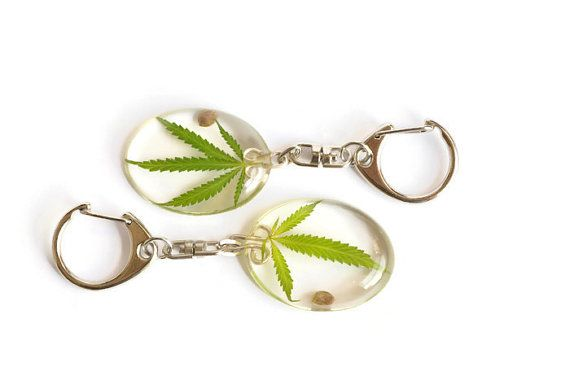 Keychain with real dried cannabis leaf