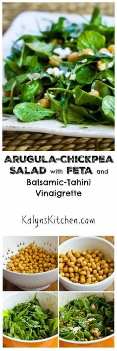 Everyone who loves arugula like I do will swoon over this Arugula Chickpea Salad with Feta and Balsamic-Tahini Vinaigrette. If you don't have tahini you can use peanut butter or almond butter in the dressing.  [found on KalynsKitchen.com]