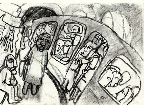 In the Metro Sortie. Original Charcoal Drawing by MetroStudio