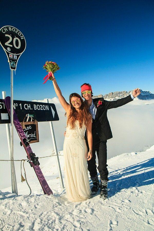Jenny Packham wedding dress for a mountain top Trash the dress shoot in Chamonix, France