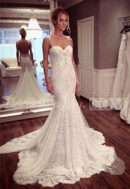 $129.75-Sexy Spaghetti Straps Sweetheart Lace Mermaid Wedding Gown With Backless Style | Mermaid Wedding Dress | White Dress for Brides 2015 | Best Wedding Dress | Affordable Wedding Dress | Fall Wedding Dress 2016 http://www.doriswedding.com/sexy-mermaid-lace-court-train-wedding-dress-2016-spaghetti-strap-p710870.html #DorisWedding.com