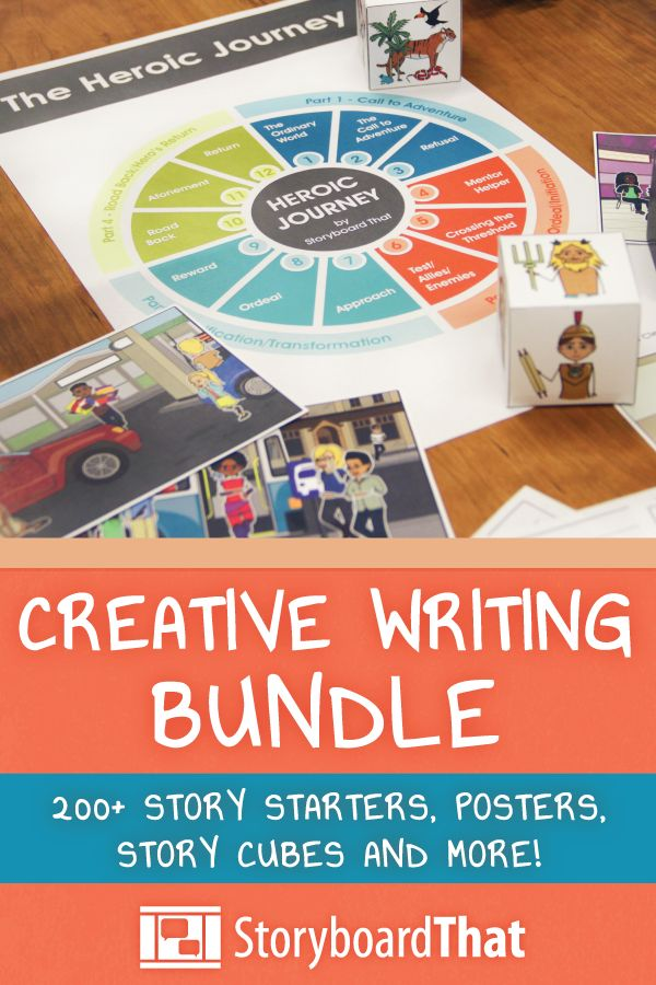 Over 212 pages to help engage your students' creativity! Includes Posters, Story Starters, Story Cubes, and More!