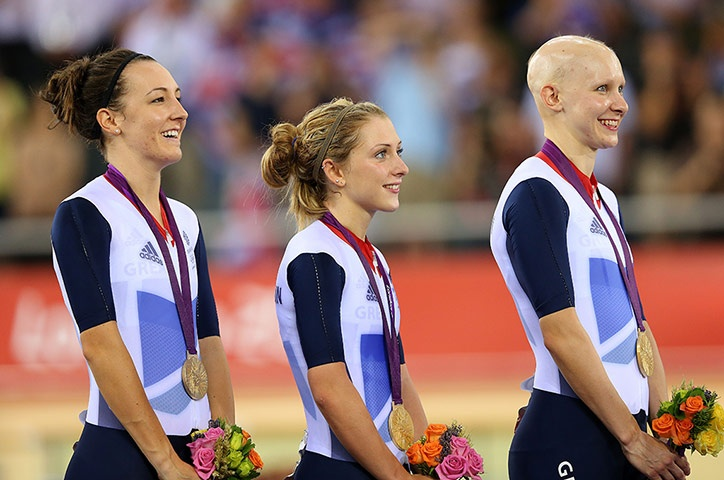 Team GB medals: Dani King, Laura Trott, and Joanna Rowsell with their gold medals