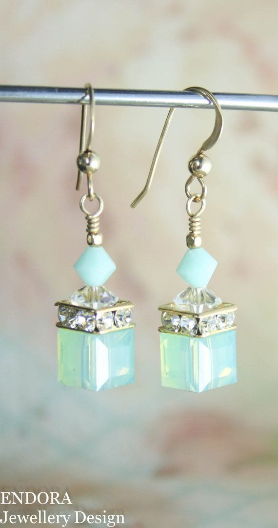 Swarovski earrings,cube earrings,mint earrings,swarovski mint earrings,crystal earrings,swarovski crystal earrings,gold mint earrings,cube
