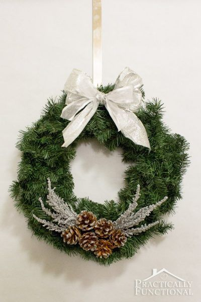DIY Silver Pine Cone Wreath
