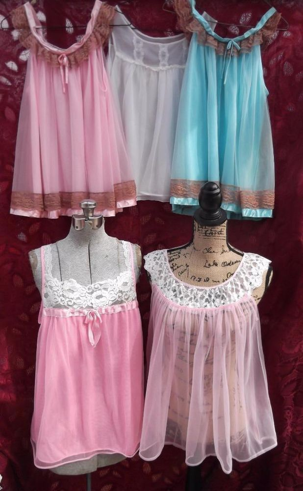 Vintage 1960s Nightgowns 5 Babydoll Nighties Nylon Pink