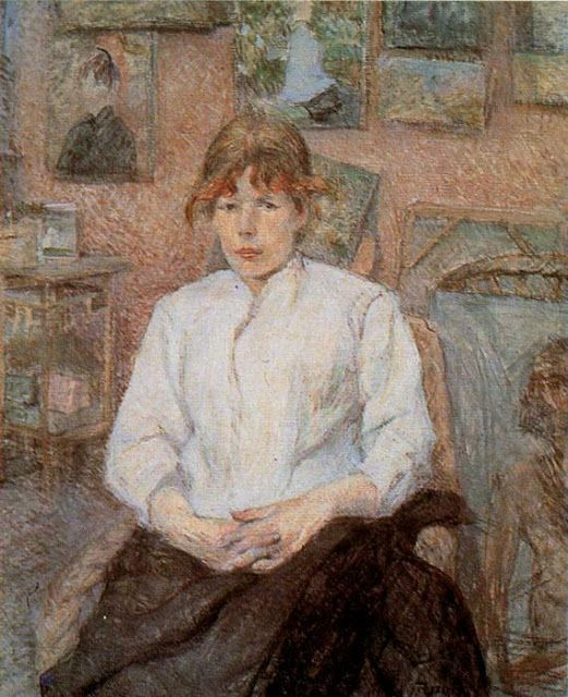 Κοκκινομαλούσα γυναίκα με άσπρη μπλούζα (1886)