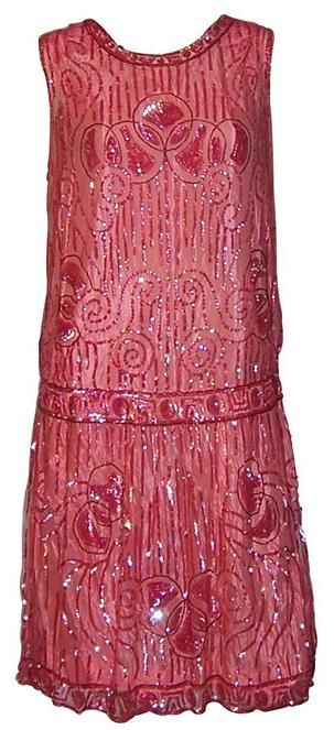 1920's vintage Art Deco Fashion - red sequined evening dress