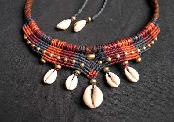 "Tribal Macrame Choker Collier ""Mama Africa"" with Cowrie Shells and Brass beads"