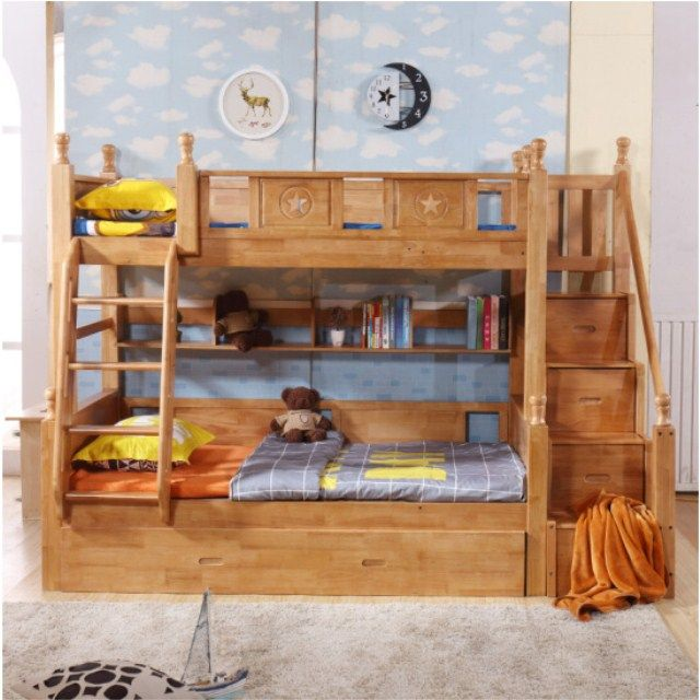 Source Rustic Style Kids Solid Wood Bunk Beds with Bookshelf High Quality Children Furniture Sets on m.alibaba.com