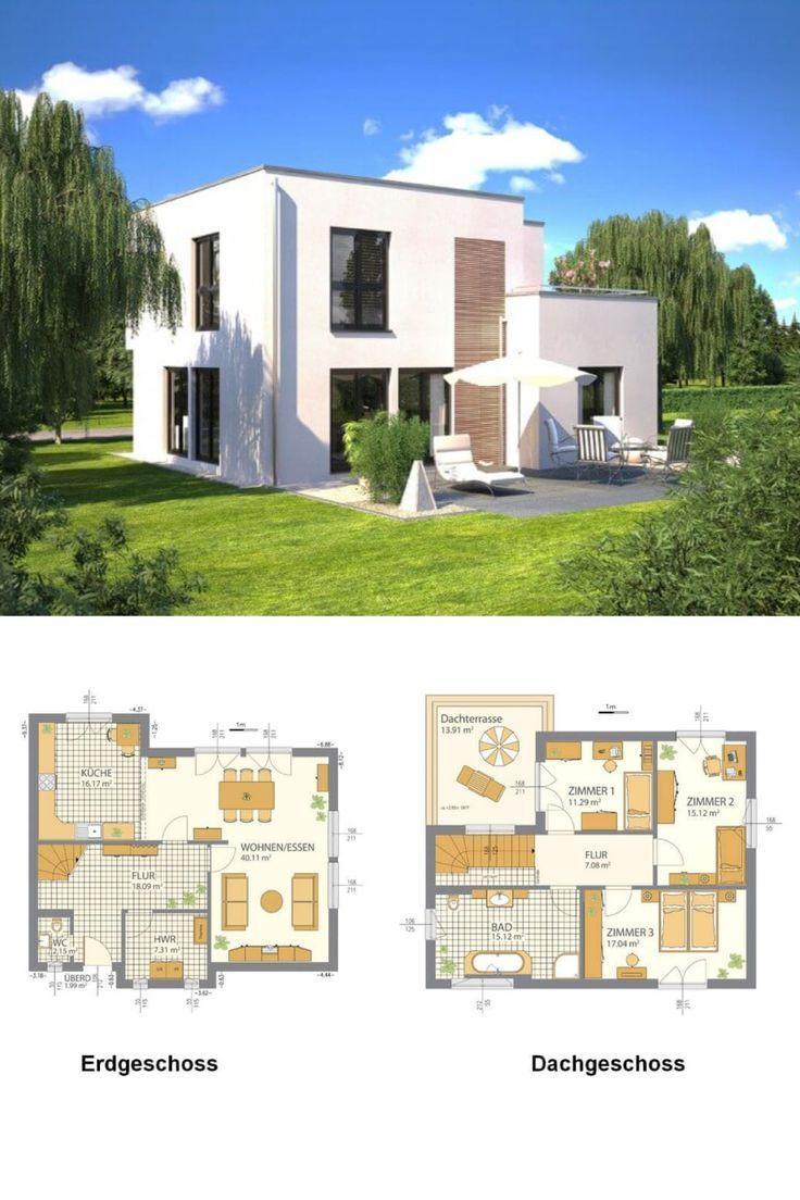 Einfamilienhaus Modern Mit Flachdach Und Offenem Grundriss Haus