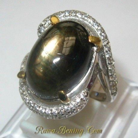 Cincin Wanita Silver Black Star Sapphire Ring 5 US 1.00 carat