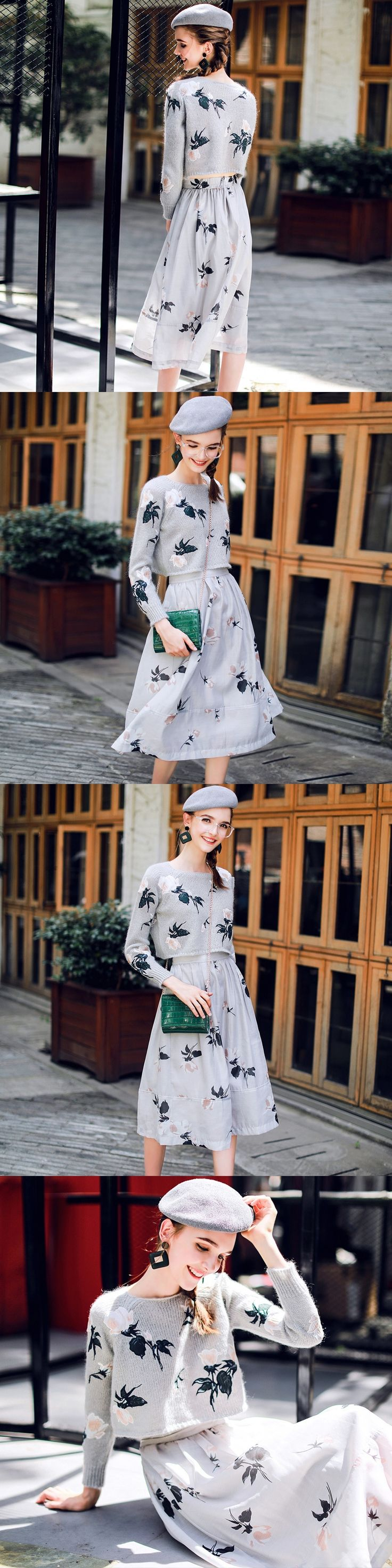Set with embroidery sweater printed skirt high quality fashion for female new in autumn