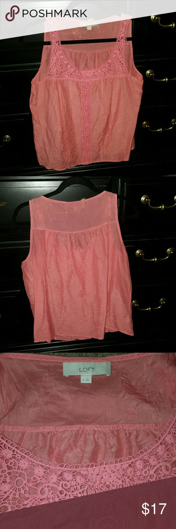 Anne taylor loft pink crochet top Anne Taylor LOFT tank top Light pink with crochet details Size medium LOFT Tops Blouses