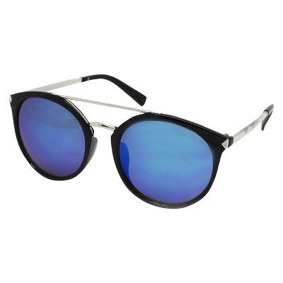 Women's Aviator Sunglasses - Black with Blue Lens
