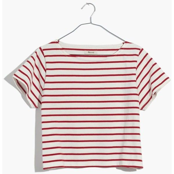 MADEWELL Setlist Boxy Tee in Murphy Stripe ($40) ❤ liked on Polyvore featuring tops, t-shirts, kilt red, white crop tee, boxy crop tops, boxy crop tee, white crop top and striped t shirt
