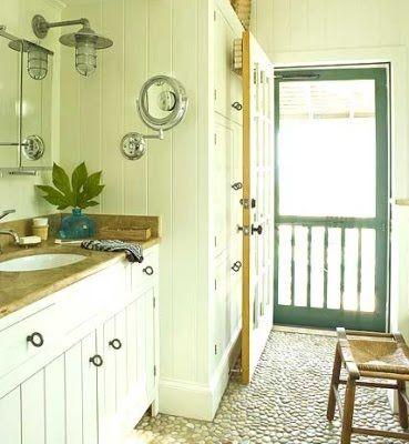 Bathroom With Beach Pebble Floor I Like The Idea For