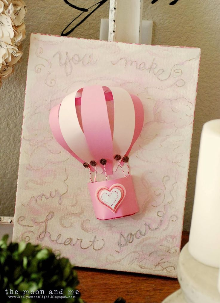 The Moon and Me: You Make My Heart Soar - Hot Air Balloon Art
