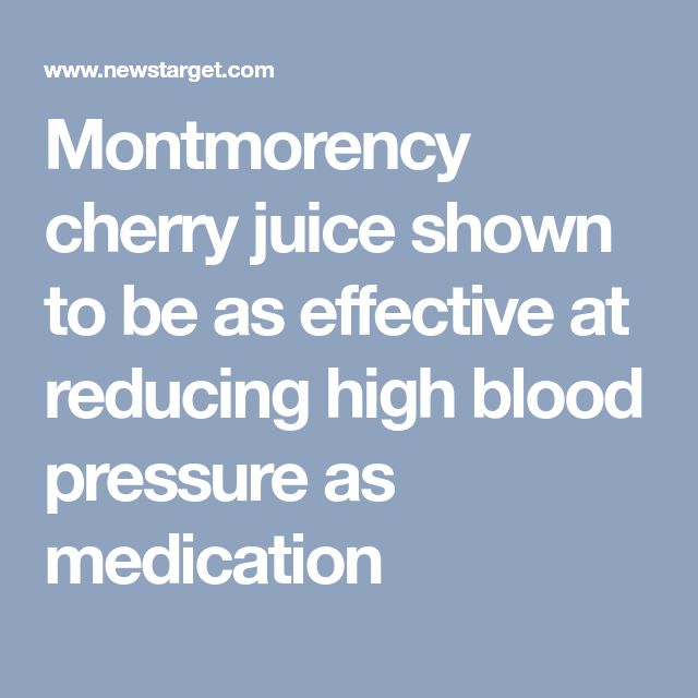 Montmorency cherry juice shown to be as effective at reducing high blood pressure as medication