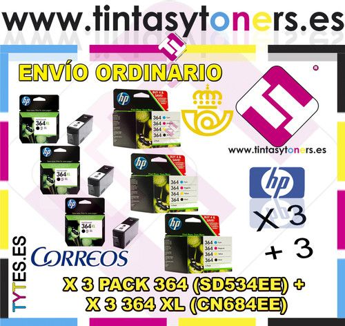 3 PACK HP 364 RAINBOW 4 COLORES + 3 ORIGINALES 364XL NEGRO SD534EE CN684EE COMBO