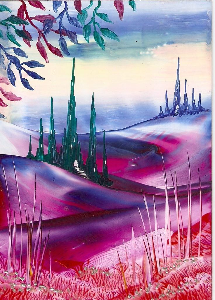 castle valley one of mine encaustic art paintings, by Olga Medvedeva